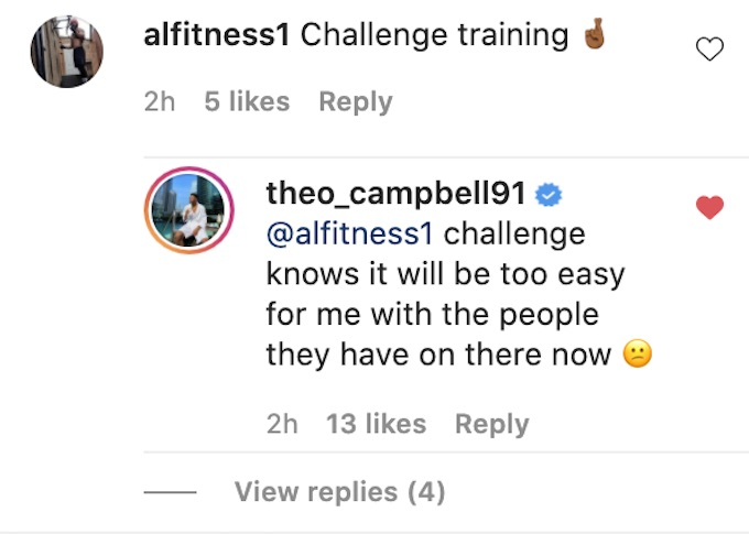 the challenge theo campbell replies about training clip
