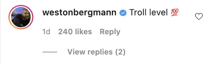 wes bergmann comments on tony raines instagram post