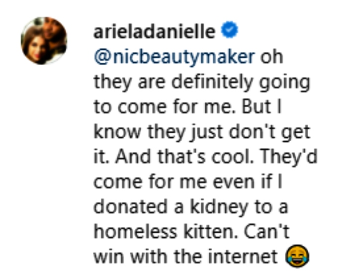 ariela weinberg responded to her supporter on a 90 day fiance instagram post