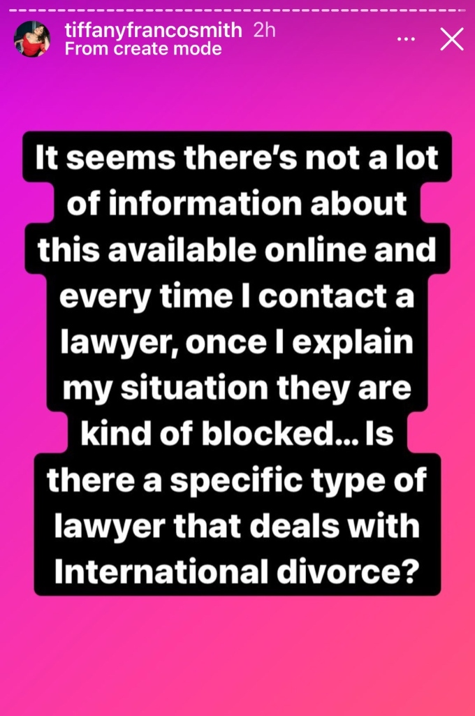 Tiffany Franco asks followers for information on international divorce