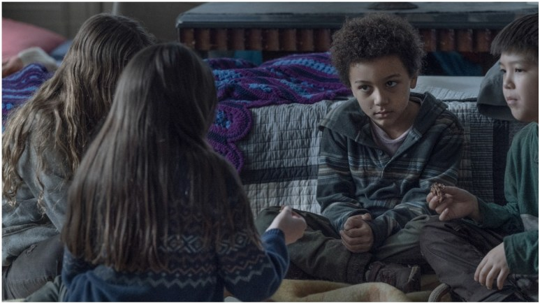 Cailey Fleming as Judith, Anabelle Holloway as Gracie, Antony Azur as RJ, and Kien Michael Spiller as Hershel, as seen in Episode 3 of AMC's The Walking Dead Season 11