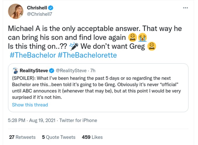 Chrishell Stause weighed in on Greg as the Bachelor.