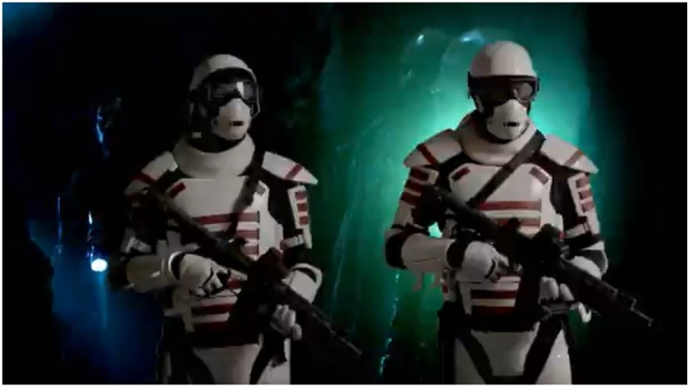 Commonwealth guards, as seen in the Season 11 trailer for AMC's The Walking Dead