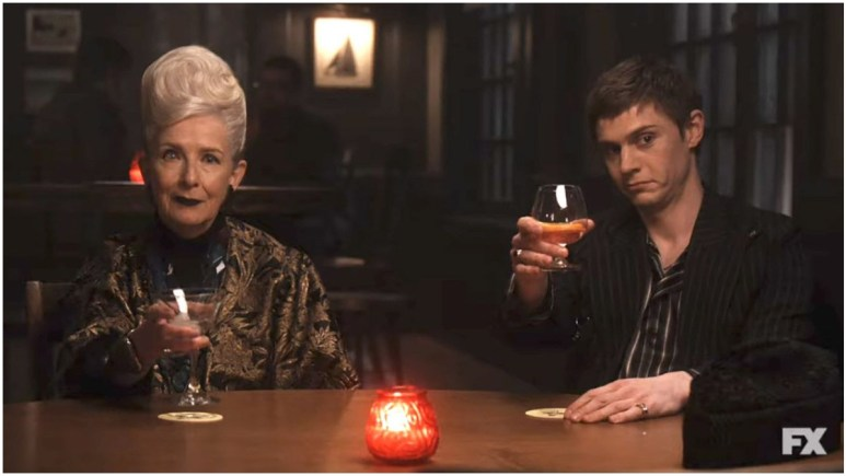Frances Conway as Belle Noir and Evan Peters as Austin Somers, as seen in Episode 1 of FX's American Horror Story: Double Feature