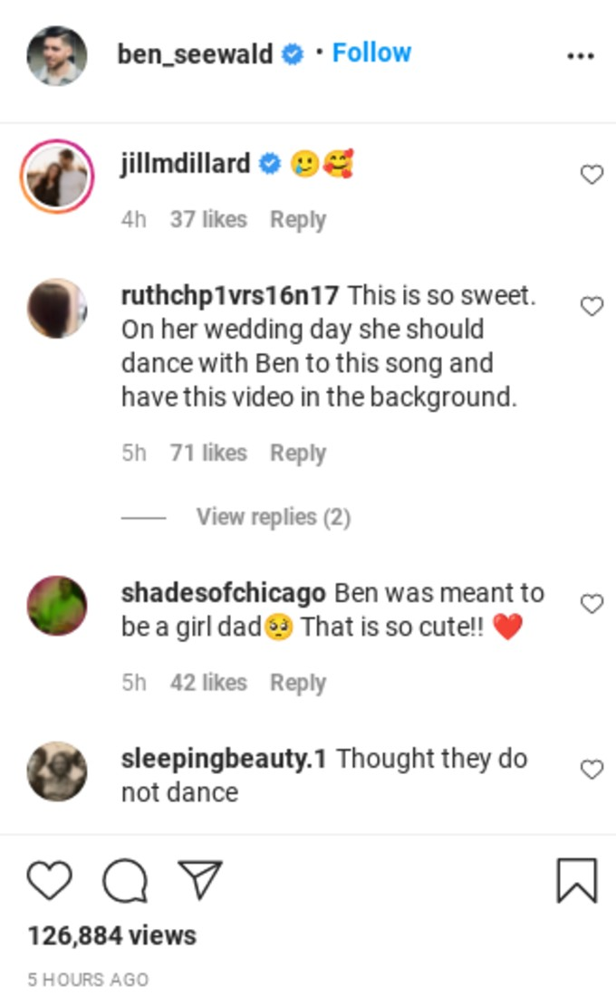 Ben Seewald gets complimented in the comment section.