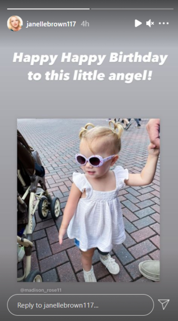 janelle brown of sister wives wished her granddaughter evie k a happy second birthday on instagram stories
