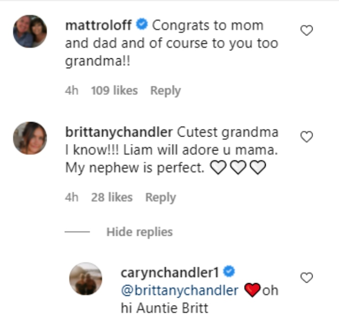 caryn chandler of lpbw announced she is a grandmother on instagram and matt roloff and her daughter commented