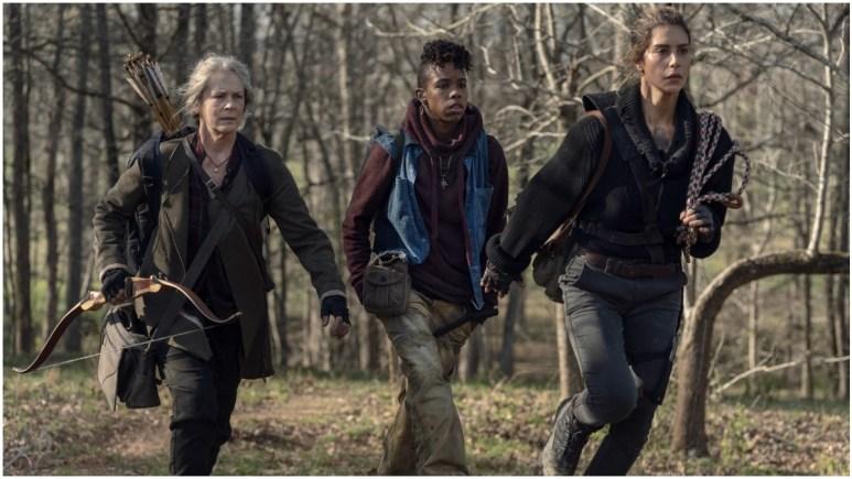Melissa McBride as Carol Peletier, Angel Theory as Kelly, and Nadia Hilker as Magna, as seen in Episode 3 of AMC's The Walking Dead Season 11