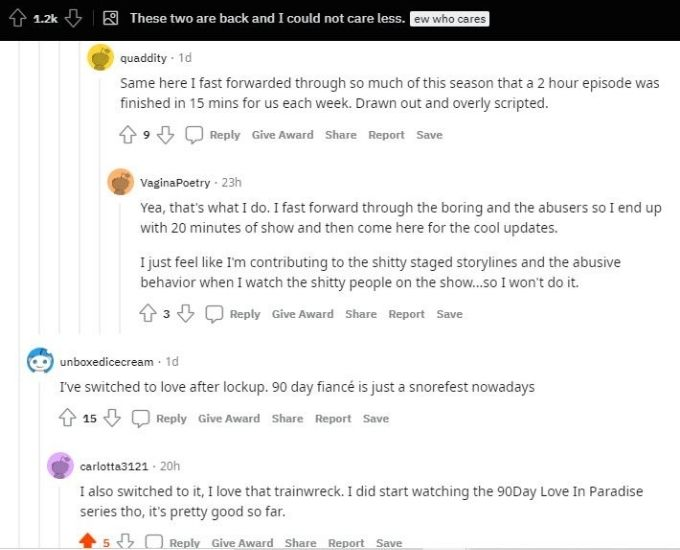 Reddit thread about Corey and Evelin