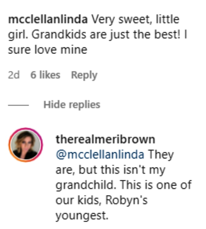 meri brown of sister wives shared a pic with ariella on instagram