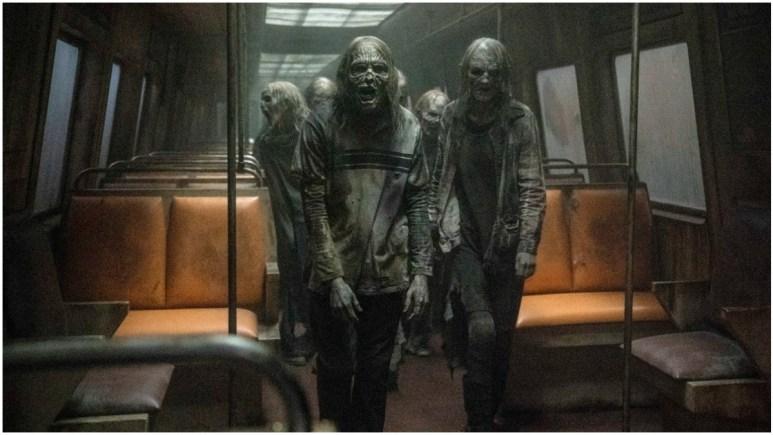 Walkers on a train, as seen in Episode 2 of AMC's The Walking Dead Season 11