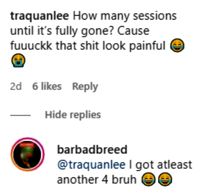 bar smith answered fan questions about his laser tattoo removal on instagram