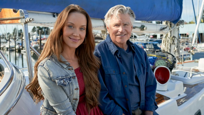 Laci Mailey (as Jess O'Brien) and and Treat Williams (as Mick O'Brien) on Hallmark Channel's Chesapeake Shores.