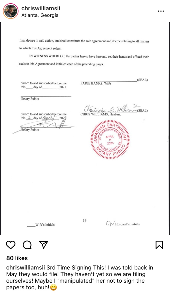 Chris Williams and Paige Banks divorce papers signed by Chris