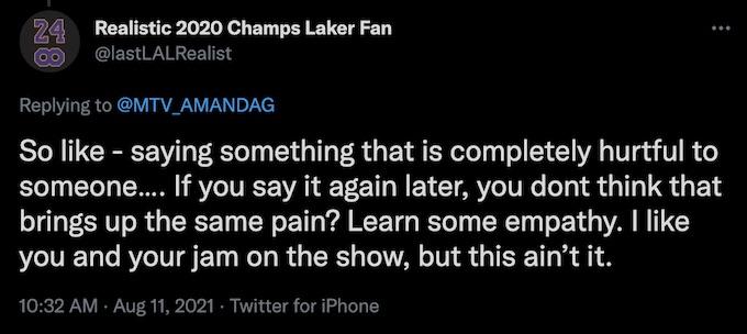 fan of the challenge replies to amanda garcia tweet about cameo line