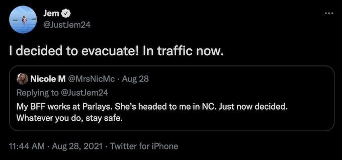jemmye carroll updates fans about hurricane ida evacuation