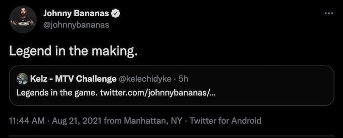 johnny bananas replies kelz dyke tweet