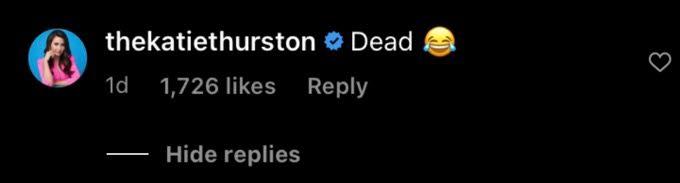 Katie Thurston's instagram comment