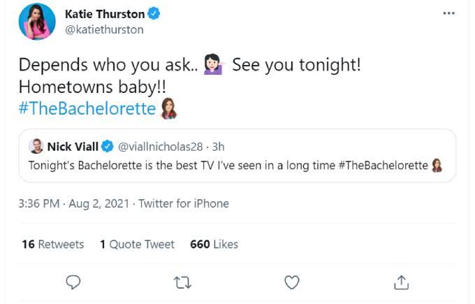 Katie Thurston replies to Nick Viall's tweet