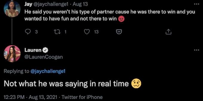 the challenge rookie lauren coogan tweet replies about josh martinez