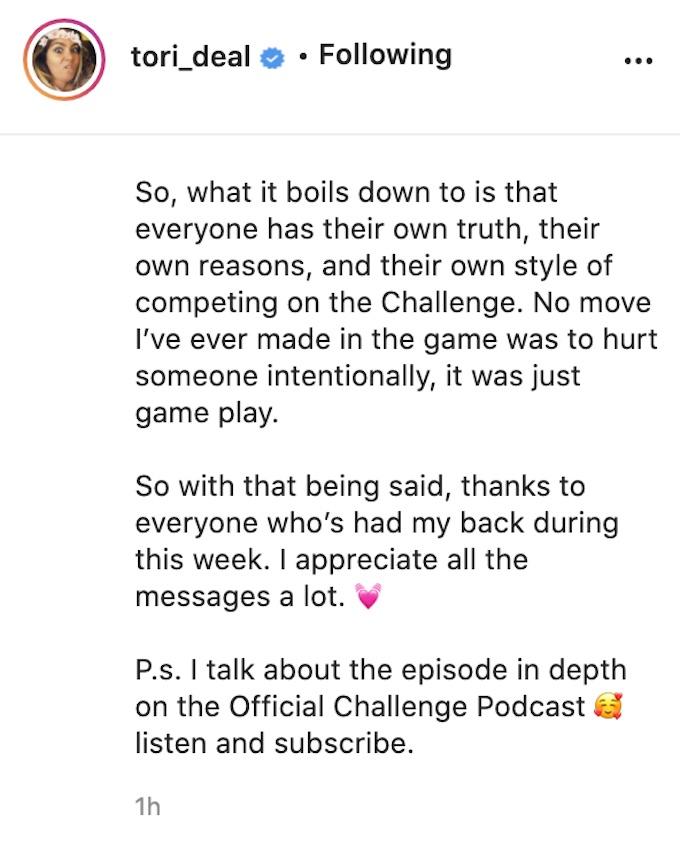 tori deal updates fans after challenge season 37 episode 3