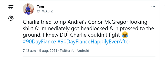 A fan tweeted their opinion about the Charlie and Andrei fight