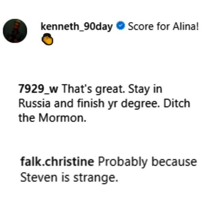 90 day fiance now shared alina's instagram story and fans reacted