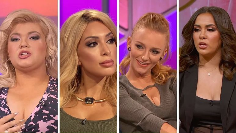Amber Portwood, Farrah Abraham, Maci Bookout, and Briana DeJesus from the Teen Mom franchise