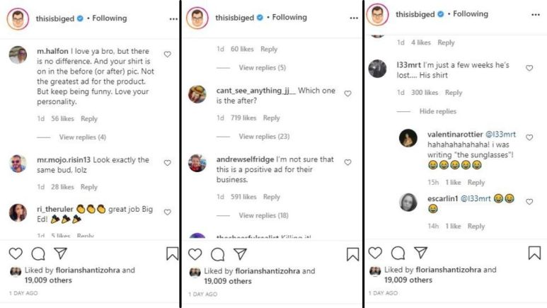 IG comments from Big Ed's Instagram photo