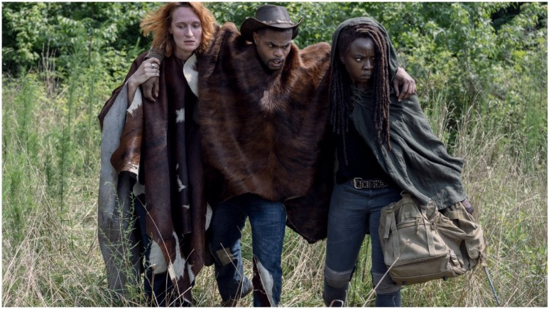 Breeda Wool as Aiden, Andrew Bachelor as Bailey, and Danai Gurira as Michonne, as seen in Episode 13 of AMC's The Walking Dead Season 10
