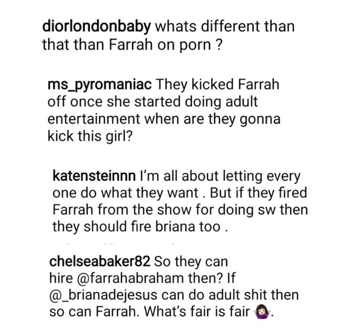 teen mom tea on instagram shared briana dejesus's onlyfans pic and teen mom 2 fans compared her to farrah abraham