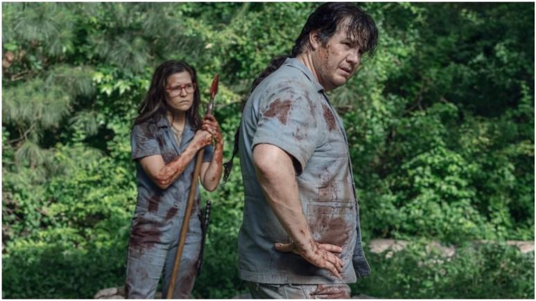 Chelle Ramos as Stephanie and Josh McDermitt as Eugene, as seen in Episode 7 of AMC's The Walking Dead Season 11