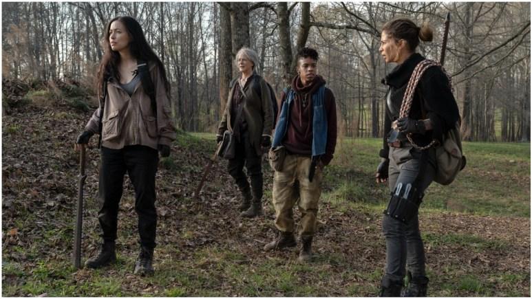 Christian Serratos as Rosita Espinosa, Melissa McBride as Carol Peletier, Angel Theory as Kelly, and Nadia Hilker as Magna, as seen in Episode 3 of AMC's The Walking Dead Season 11