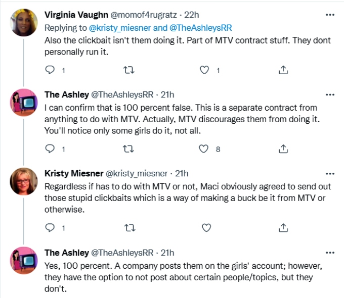 the ashley's reality roundup on twitter says mackenzie edwards turned down the opportunity to share clickbait