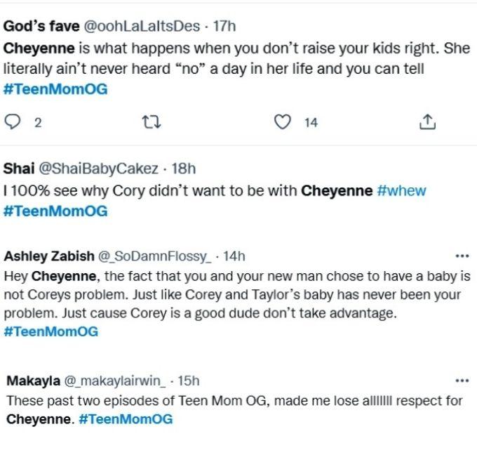 teen mom og fans bash cheyenne floyd on twitter for her behavior towards cory wharton on this week's episode