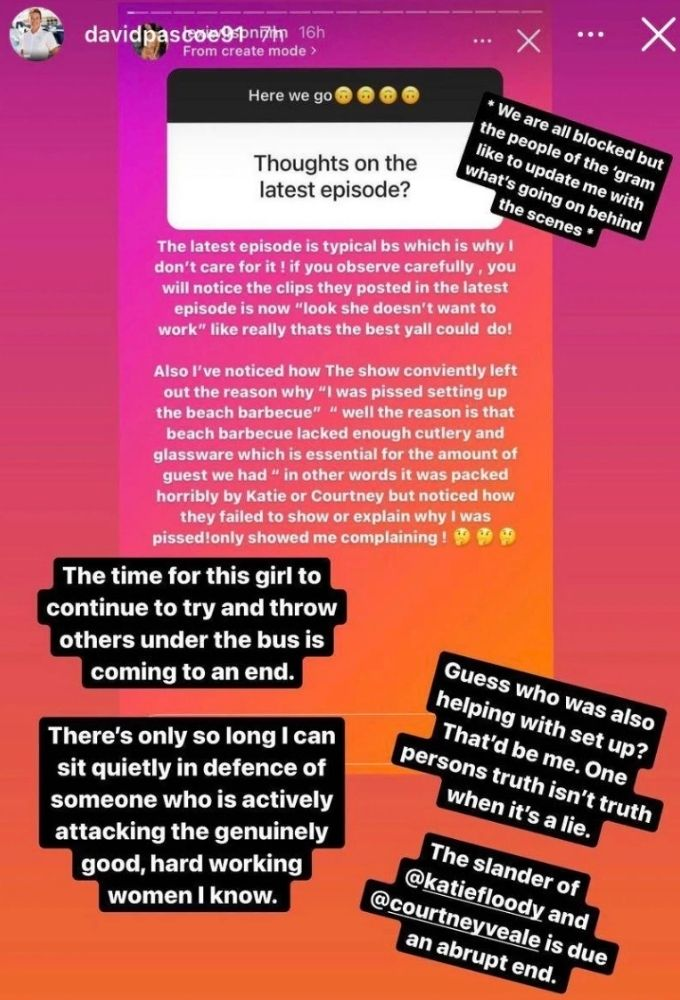 David stands up for Katie and Courtney.