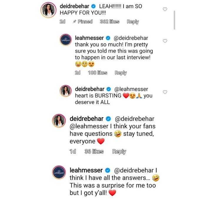 deidre behar commented on leah messer's post on instagram
