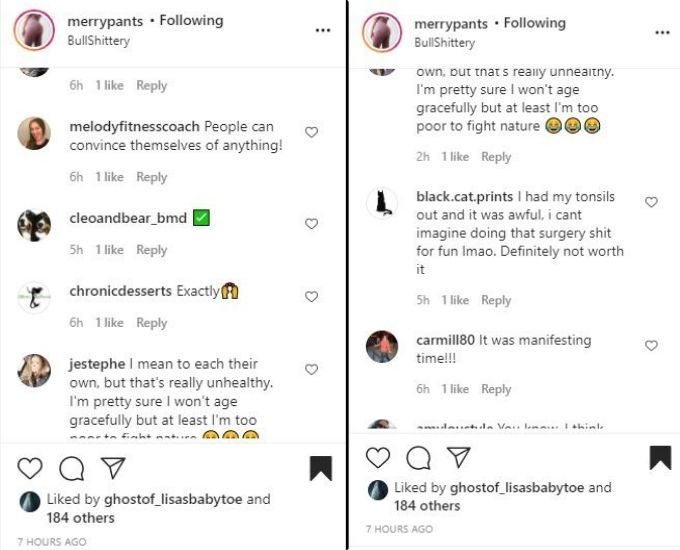 IG comments about Darcey and Stacey Silva