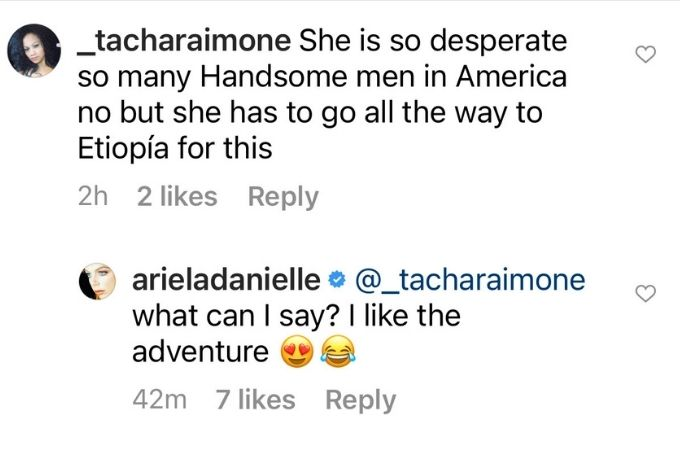 IG comment from Ariela Weinberg