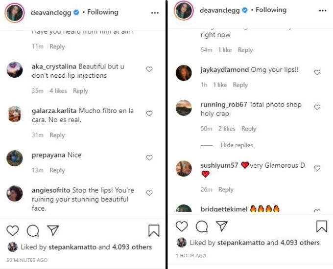 IG comments on Deavan's post