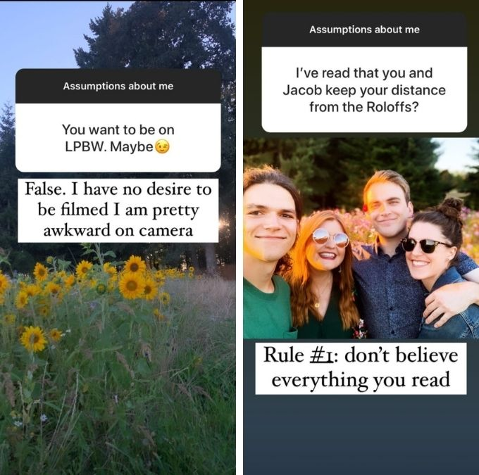 isabel roloff answered assumptions about her on her Instagram stories