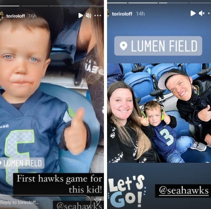 tori roloff shared pics from the seahawks game on her Instagram stories