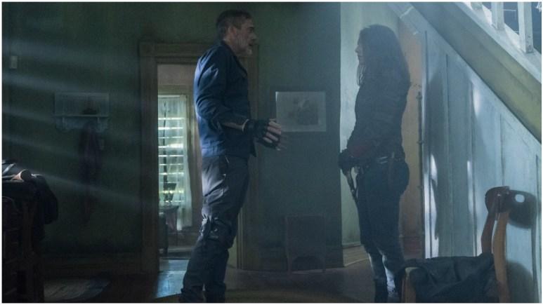 Jeffrey Dean Morgan as Negan and Lauren Cohan as Maggie, as seen in Episode 5 of AMC's The Walking Dead Season 11