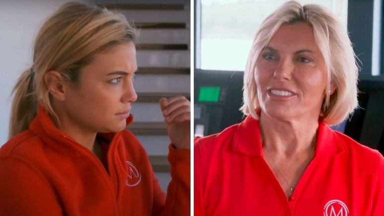 Malia White from Below Deck Mediterranean dishes Captain Sandy Yawn as drama unfolds onscreen.