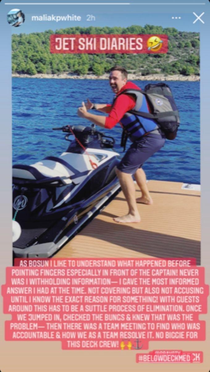 Malia White talks jet ski incident.