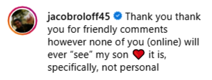 jacob roloff told his followers on instagram they'll never see his son