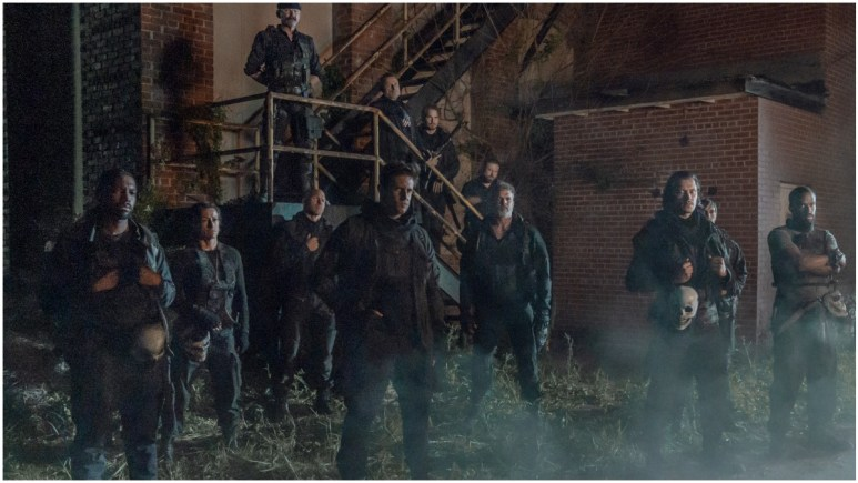 Alex Moraz as Brandon Carver, Robert Hayes as Paul Wells, Brandon Box as Fisher, Ritchie Coster as Pope, Michael Shenefelt as Bossie, as seen in Episode 4 of AMC's The Walking Dead Season 11
