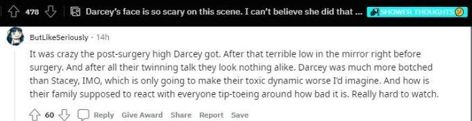 Reddit thread about Darcey Silva