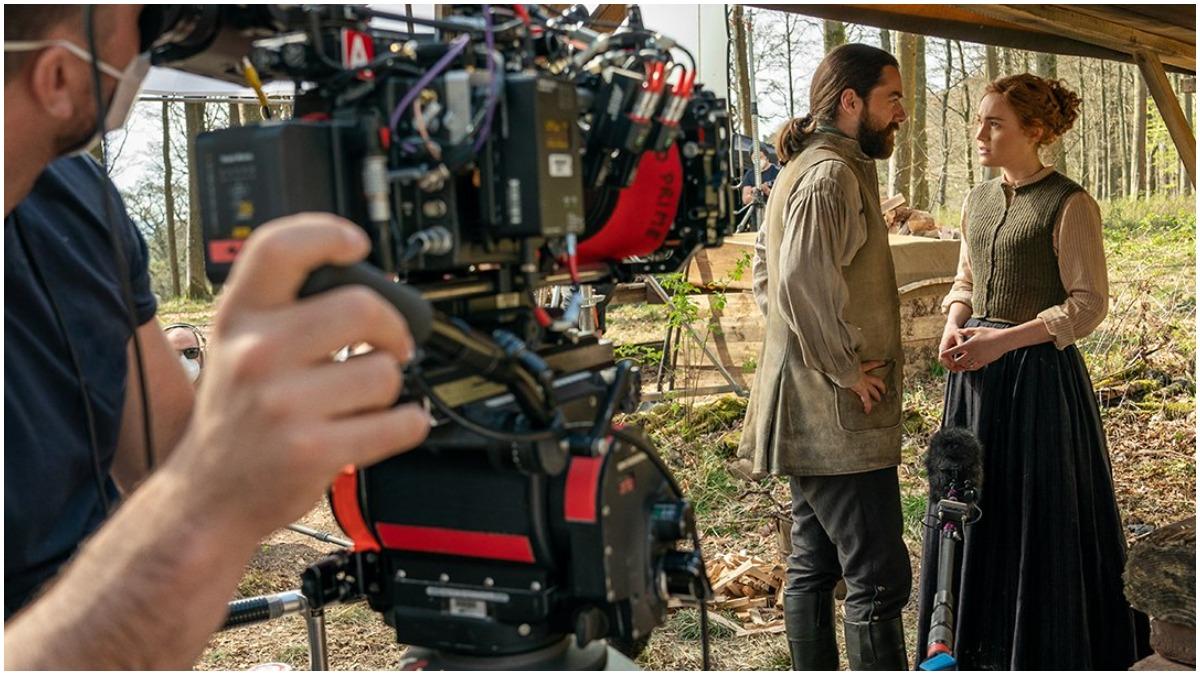 Richard Rankin as Roger and Sophie Skelton as Brianna, as seen in Season 6 of Starz's Outlander