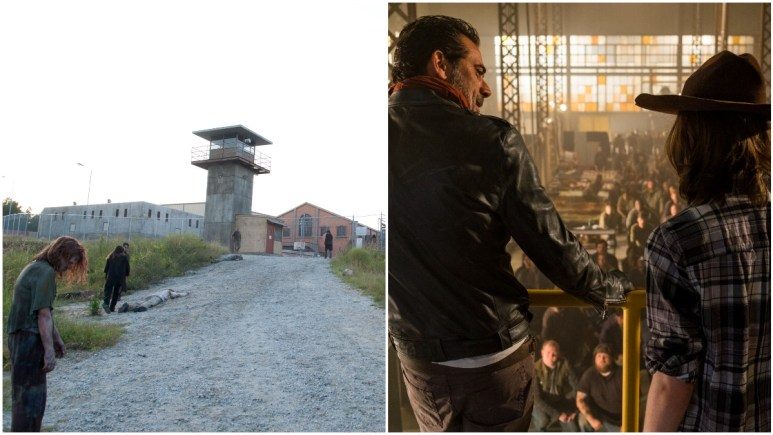 The Prison, as featured in Episode 11 of Season 3 and Negan (Jeffrey Dean Morgan) with Carl (Chandler Riggs) at the Sanctuary in Episode 7 of Season 7 of AMC's The Walking Dead